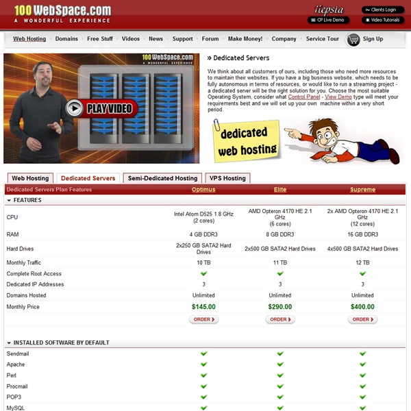 100WebSpace Dedicated Servers Plan Features
