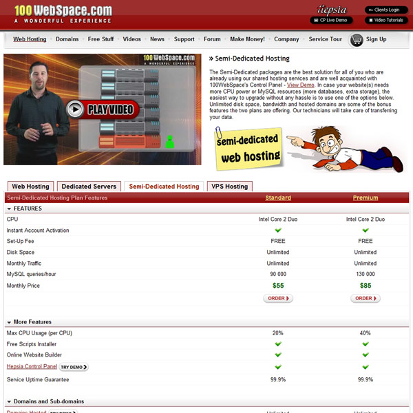100WebSpace Semi-Dedicated Hosting Plan Features