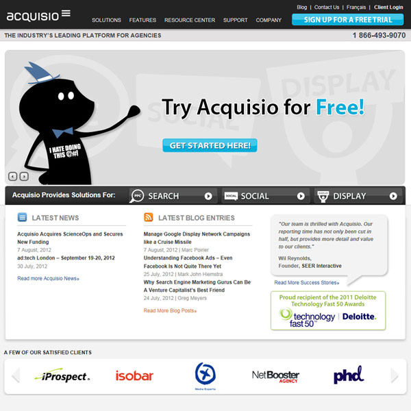 Acquisio Homepage