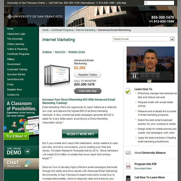 Advanced Email Marketing Homepage