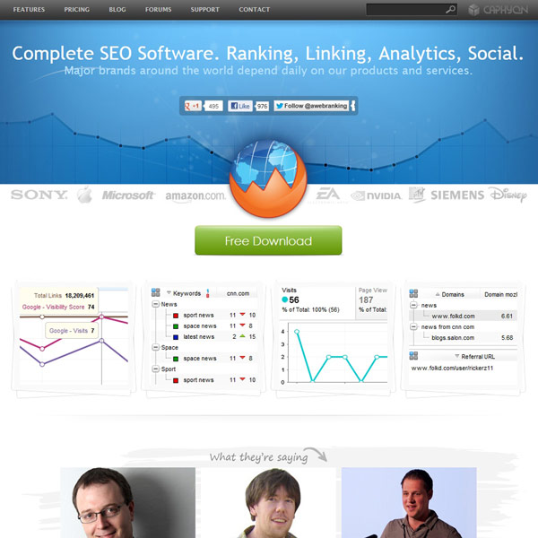 Advanced Web Ranking Homepage