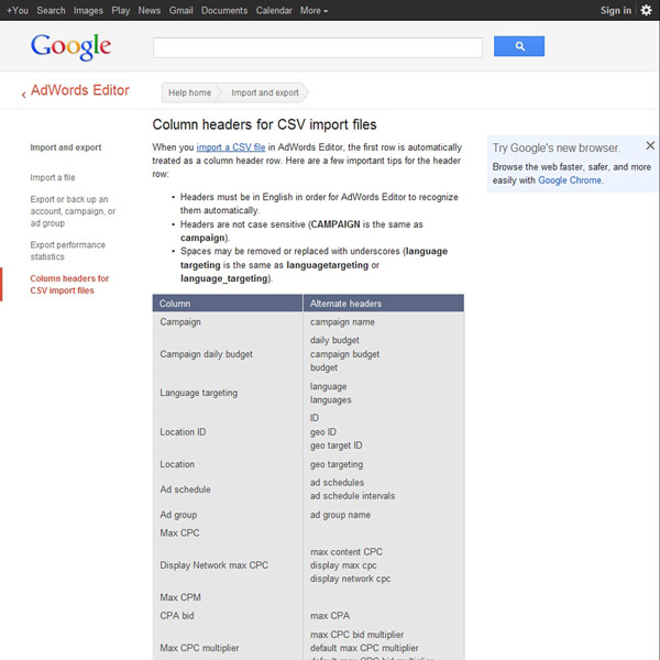 AdWords Editor Headers