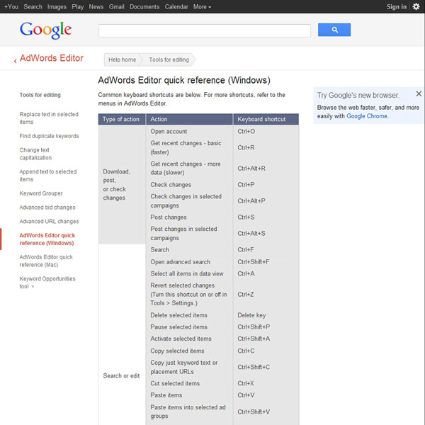 AdWords Editor Reference