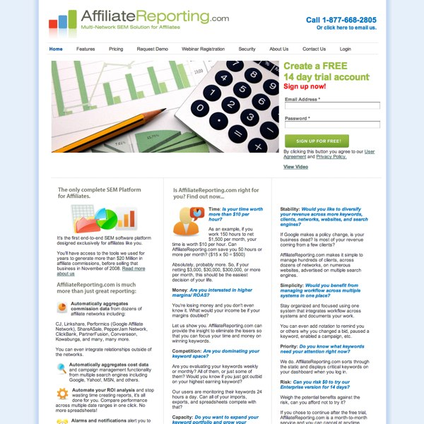 AffiliateReporting.com Homepage