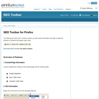 Affilorama SEO Toolbar screenshot