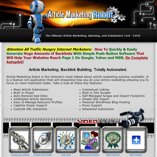Article Marketing Robot Homepage