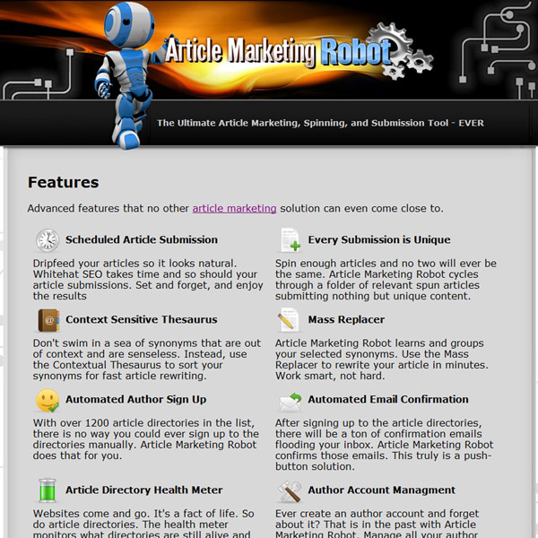 Article Marketing Robot Features