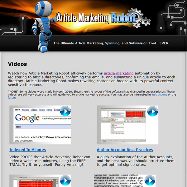 Article Marketing Robot Videos