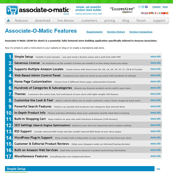 Associate-O-Matic Features
