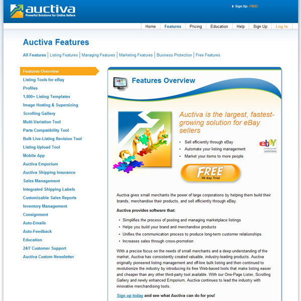 Auctiva Features