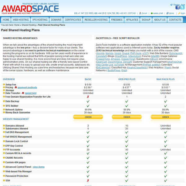 AwardSpace Paid Shared Hosting Plans