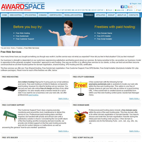 AwardSpace Free Web Services