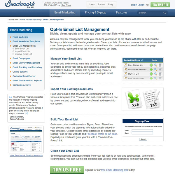 Benchmark Email List Management
