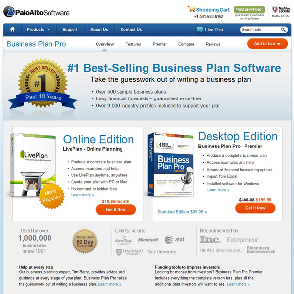 Business Plan Pro Homepage