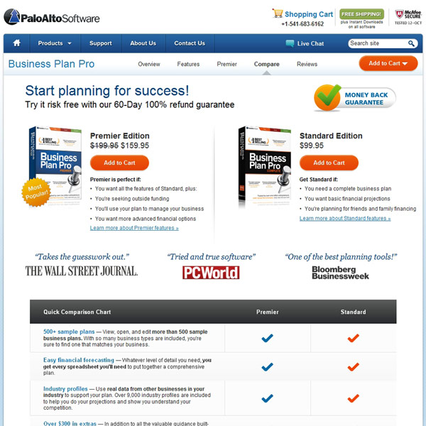 Business Plan Pro Compare Editions