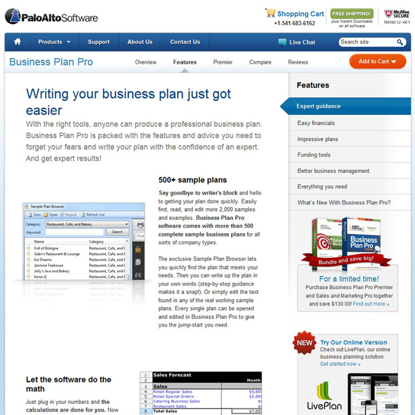 Business Plan Pro Features