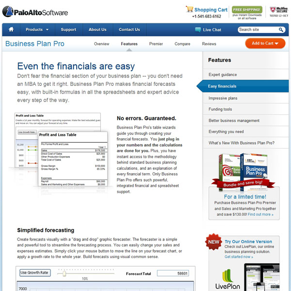 Business Plan Pro Financials