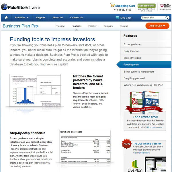 Business Plan Pro Funding Tools