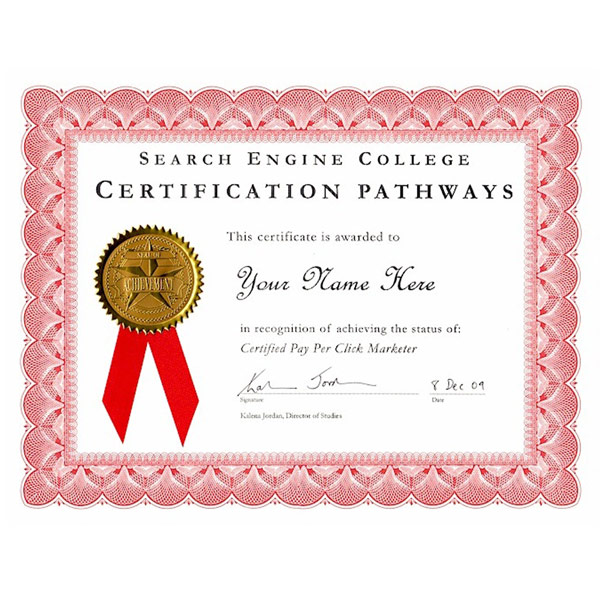 Certified Pay Per Click Marketer Certificate