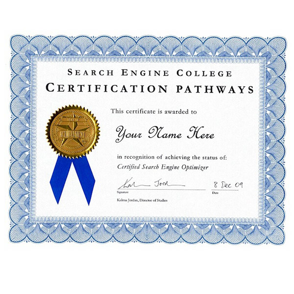Certified Search Engine Optimizer Certificate