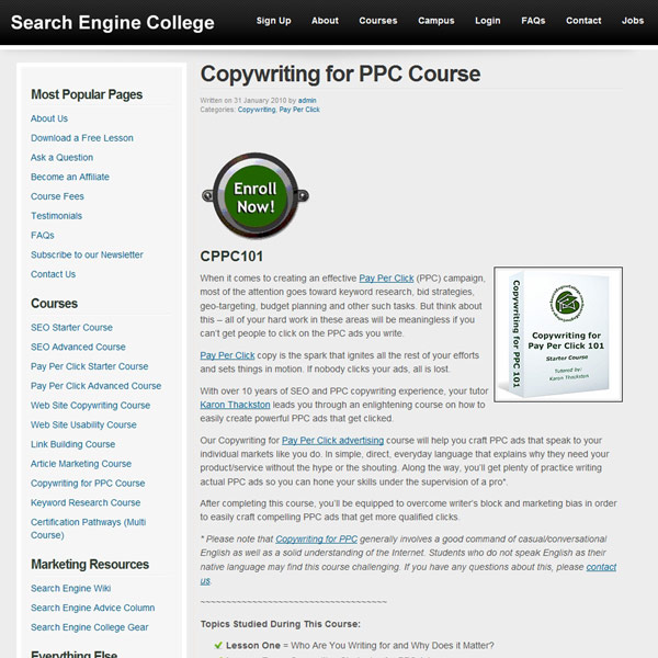 Copywriting for PPC Course Homepage