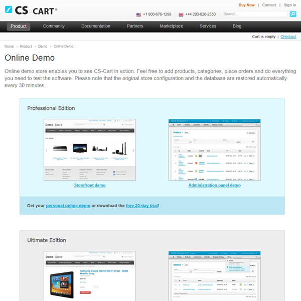 CS-Cart Online Demo