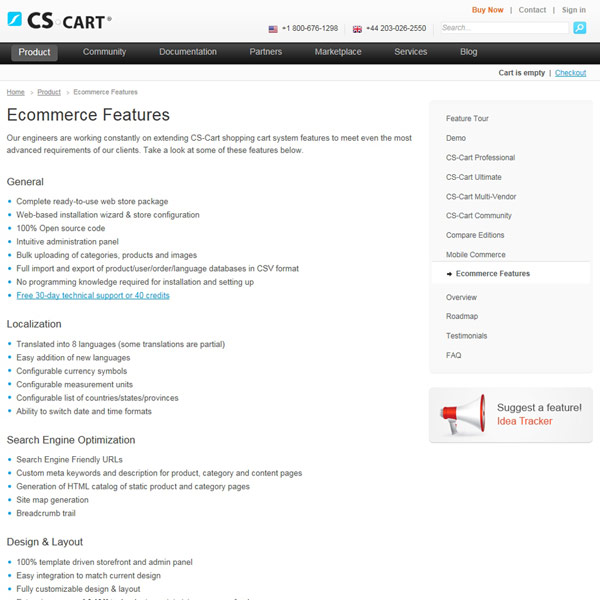 CS-Cart eCommerce Features