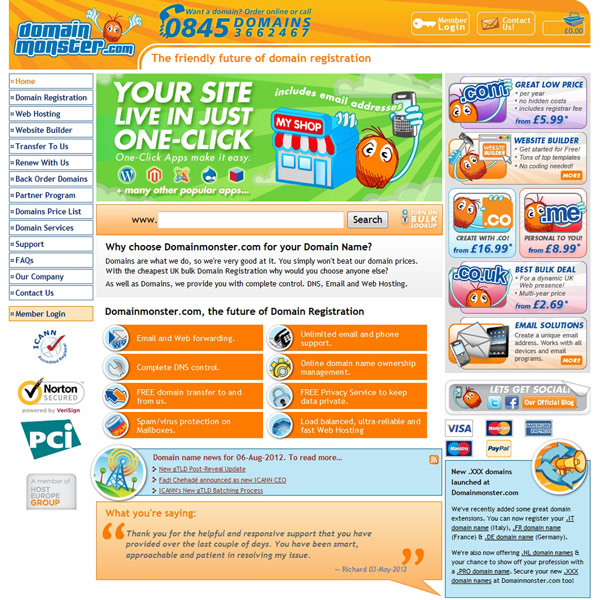 Domainmonster.com Homepage