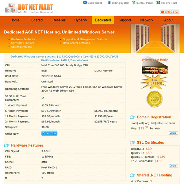 Dot Net Mart Dedicated ASP.NET Hosting