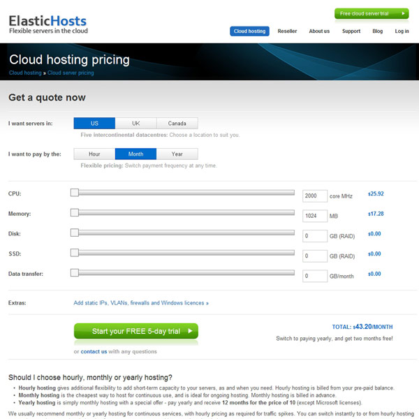 ElasticHosts Pricing
