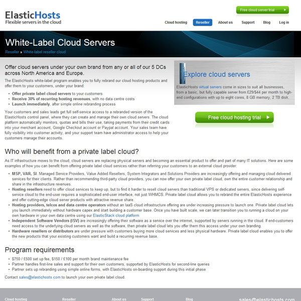 ElasticHosts White Label Reseller