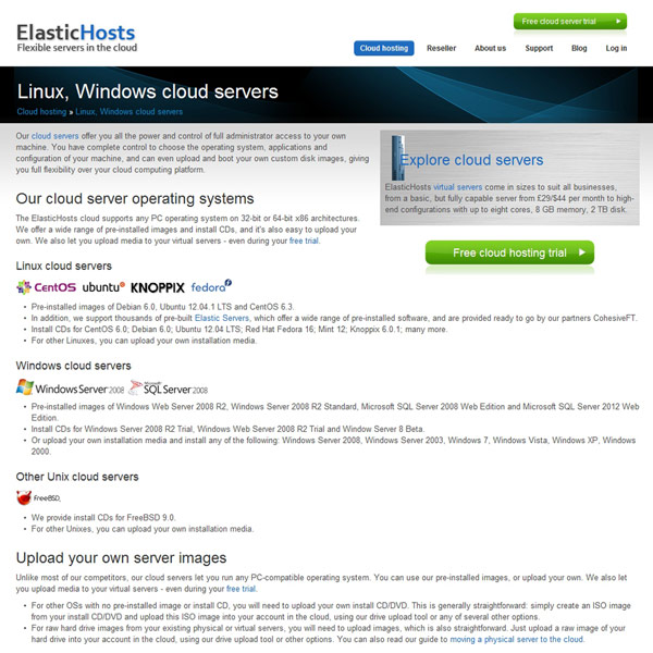 ElasticHosts Cloud Server Operating Systems