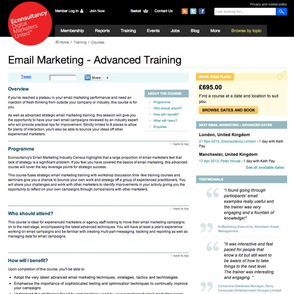 Email Marketing Advanced Training Homepage