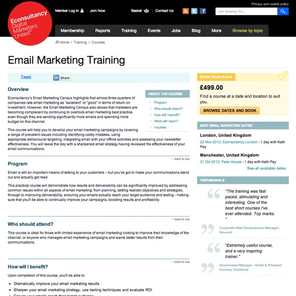 Email Marketing Training Homepage