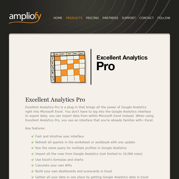 Excellent Analytics Pro Homepage