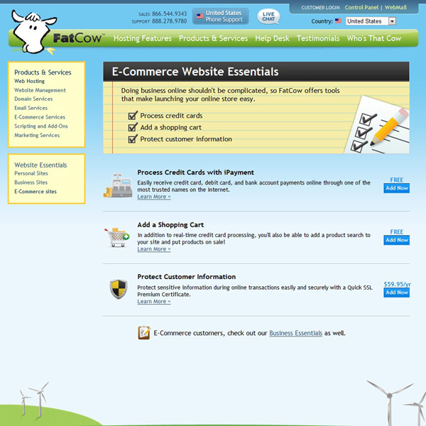 FatCow E-commerce Website Essentials