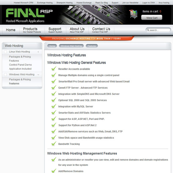 Final ASP Windows Hosting Features