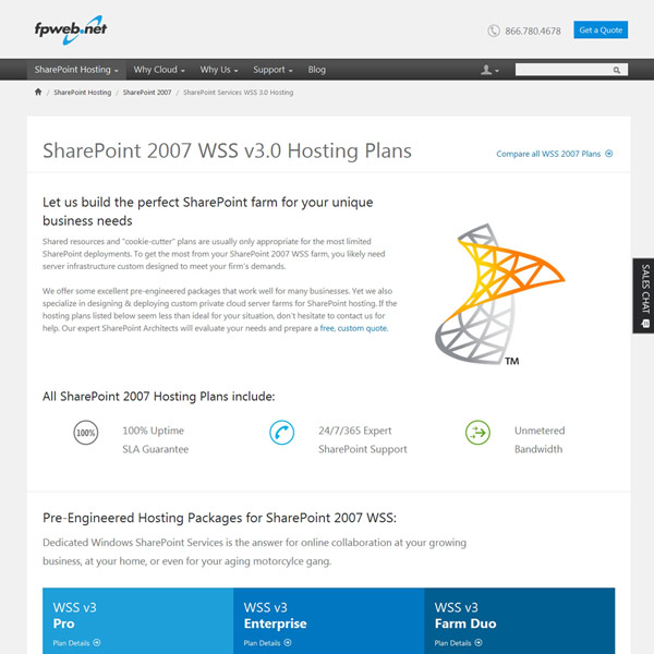 Fpweb.net SharePoint 2007 WSS v3.0 Hosting Plans