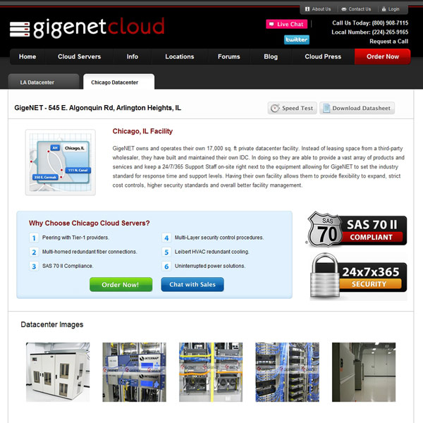 GigeNET Cloud Chicago Datacenter
