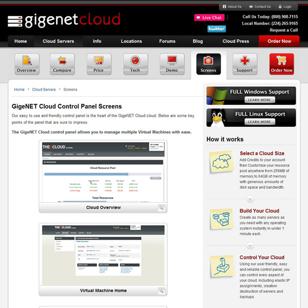 GigeNET Cloud Control Panel Screens