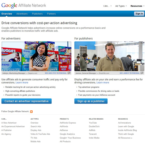 Google Affiliate Network Homepage