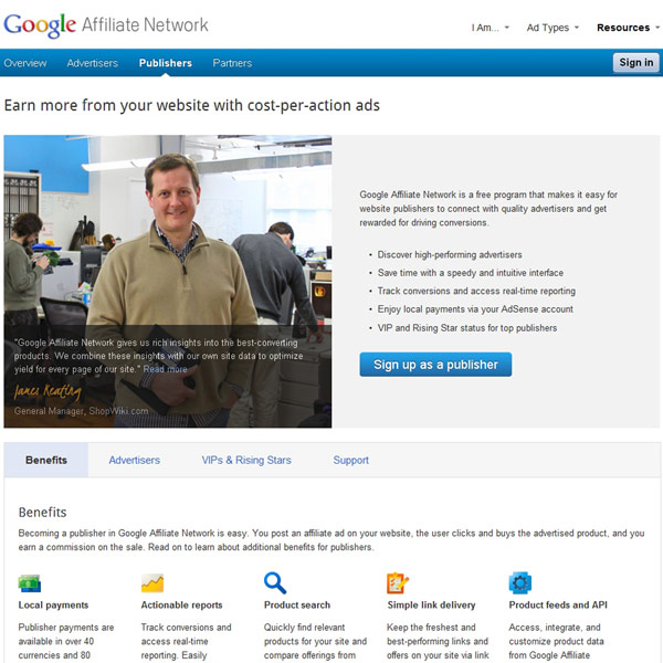 Google Affiliate Network Publishers