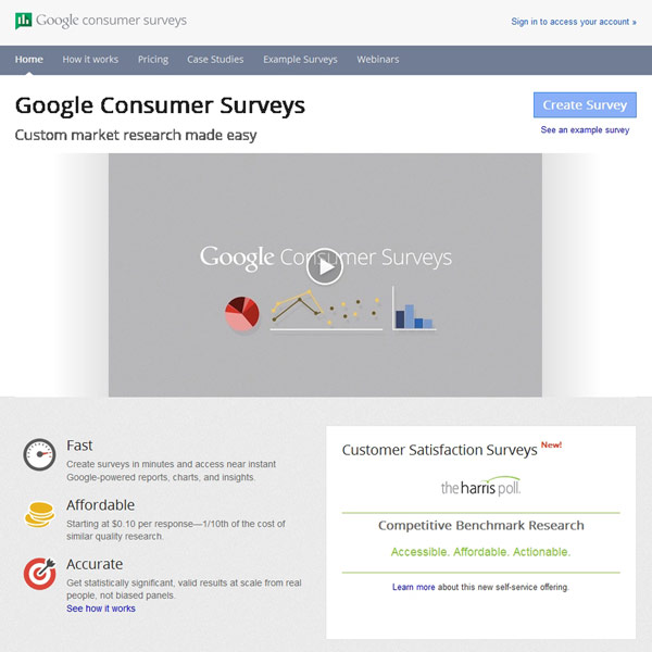 Google Consumer Surveys Homepage