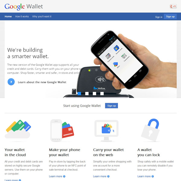 Google Wallet Homepage