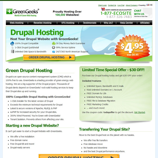 GreenGeeks Drupal Hosting