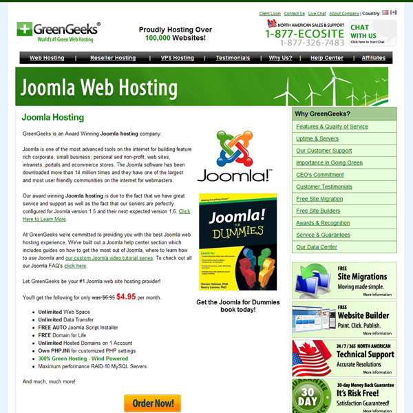 GreenGeeks Joomla Hosting