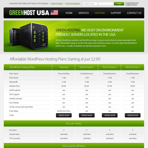 GreenHost USA Hosting Features