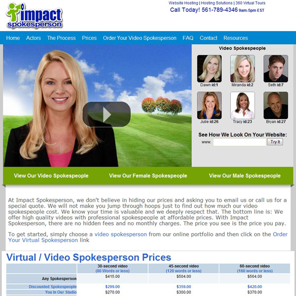 Impact Spokesperson Pricing