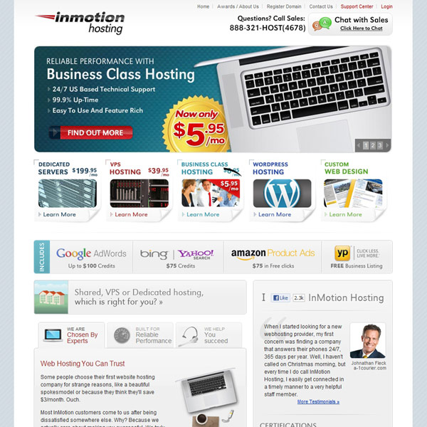 InMotion Hosting Homepage