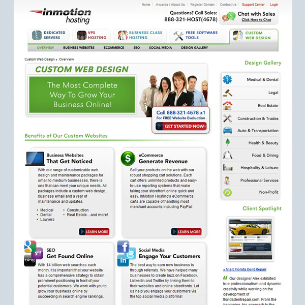InMotion Hosting Custom Web Design